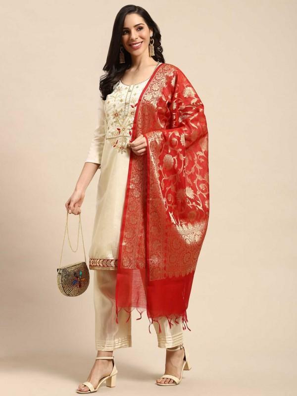 Designer Salwar Suit Cream Colour Silk Fabric.
