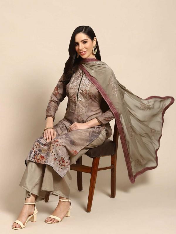 Brown Colour Palazzo Salwar Suit Cotton Fabric.