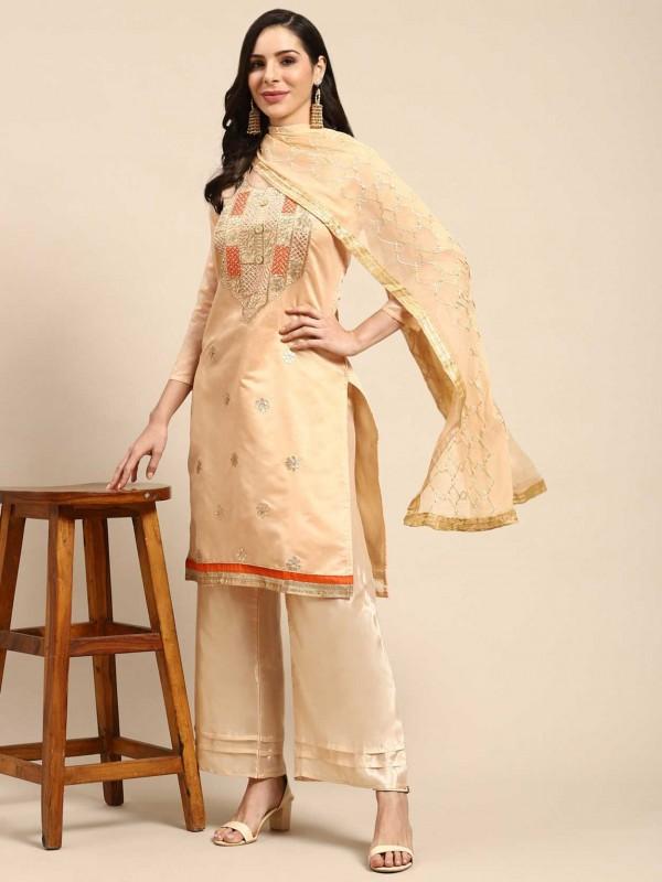 Beige Colour Silk Salwar Suit.