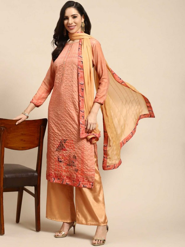 Beige,Pink Colour Cotton Salwar Kameez.