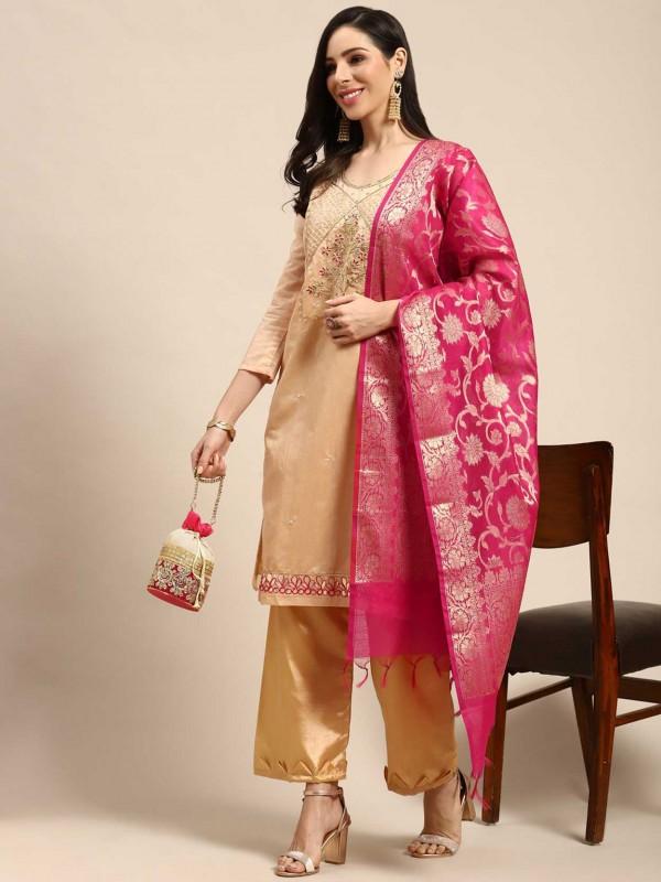 Peach Colour Palazzo Salwar Suit in Silk Fabric.