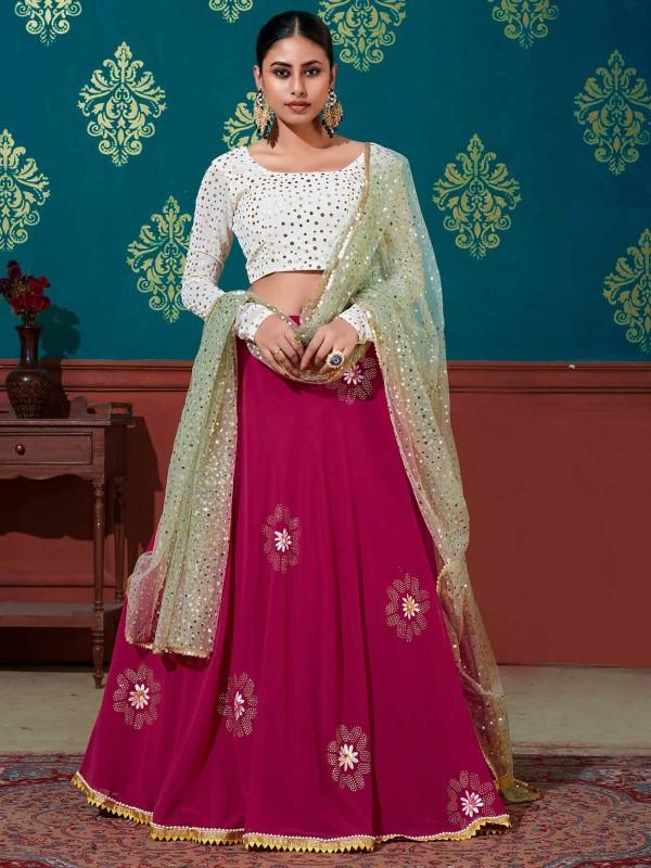 Pink Colour Georgette Fabric Lehenga Choli.