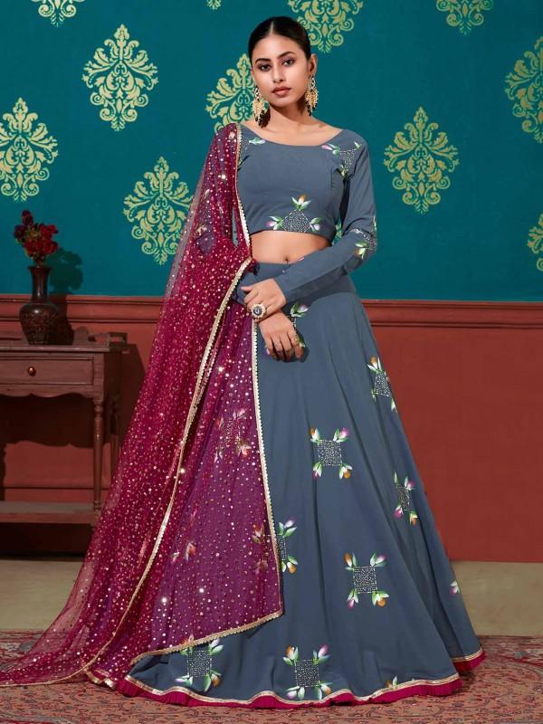 Georgette Fabric Lehenga Choli Blue Colour.