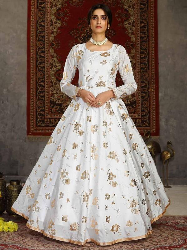 White Colour Taffeta Silk Readymade Gown.