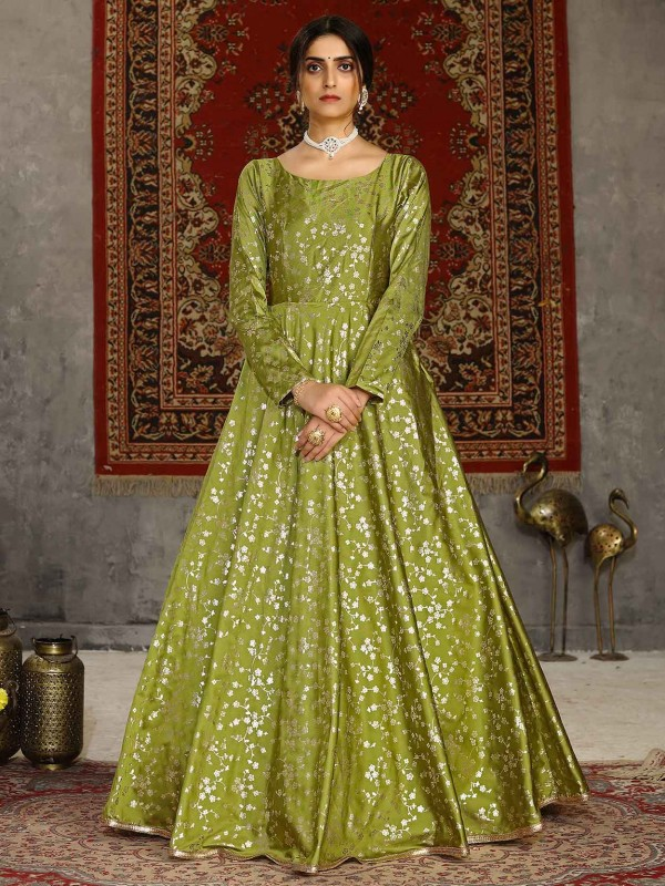 Silk Designer Gown Green Colour.