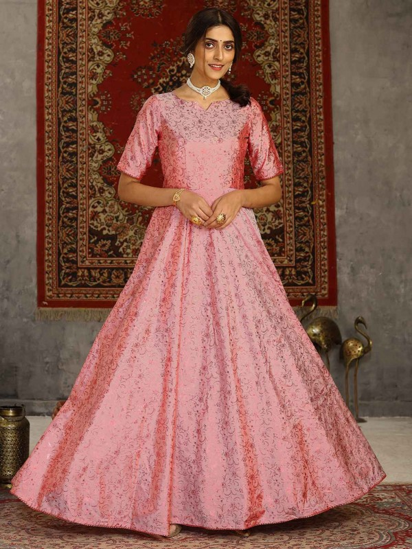 Pink Colour Silk Fabric Readymade Gown.