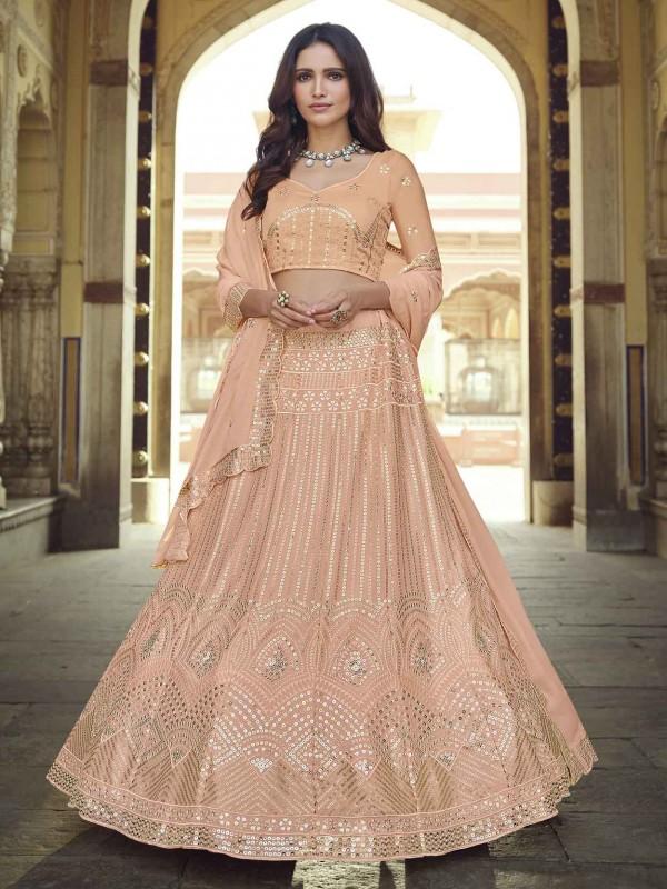 Peach Colour Designer Lehenga Choli In Georgette Fabric.