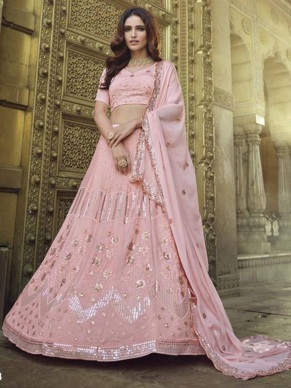 Peach Colour Wedding Lehenga Choli With Sequin,Thread Work.