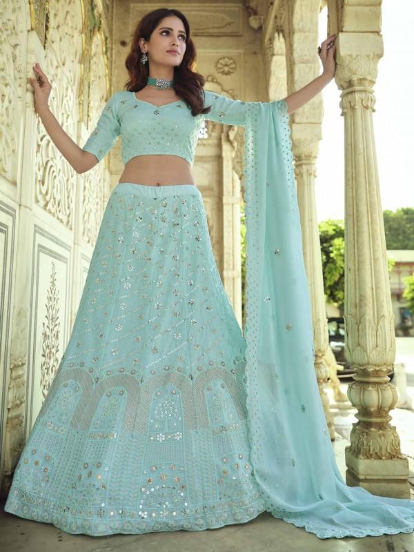 Designer Lehenga Choli Blue Colour In Georgette Fabric.