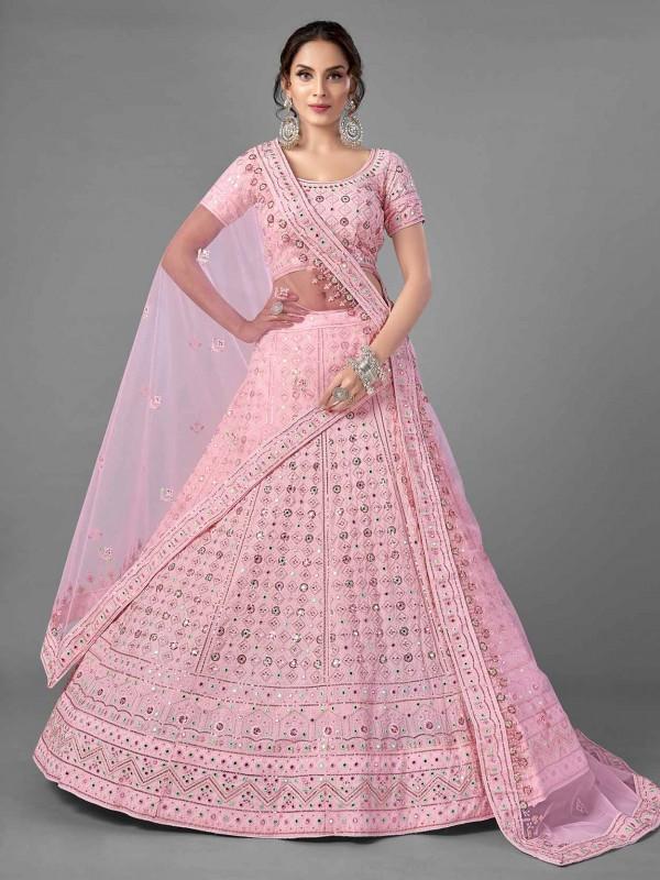 Pink Colour Georgette Fabric Designer Lehenga Choli.
