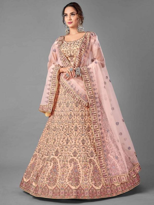 Georgette Fabric Wedding Lehenga Choli Peach Colour