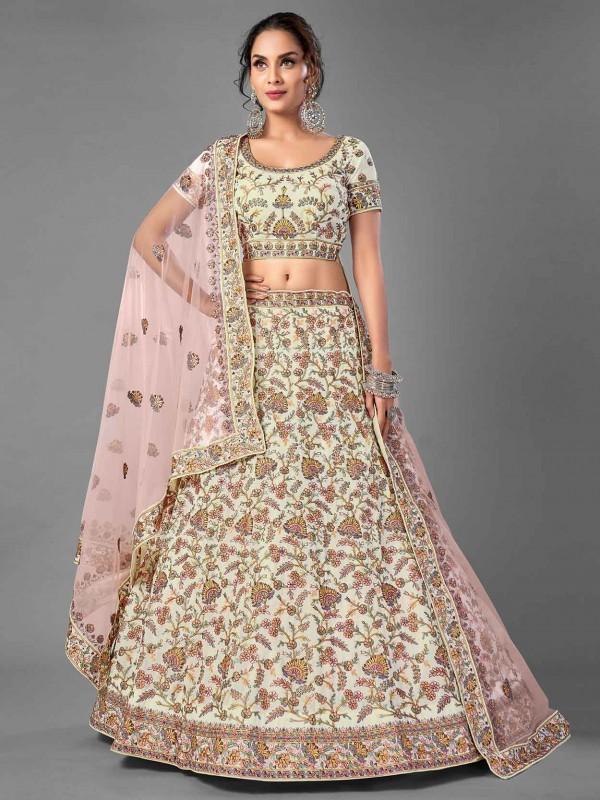 White Colour Georgette Fabric Designer Lehenga.