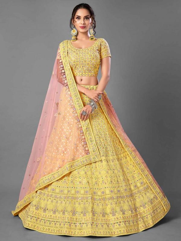 Yellow Colour Georgette Fabric Indian Designer Lehenga Choli.