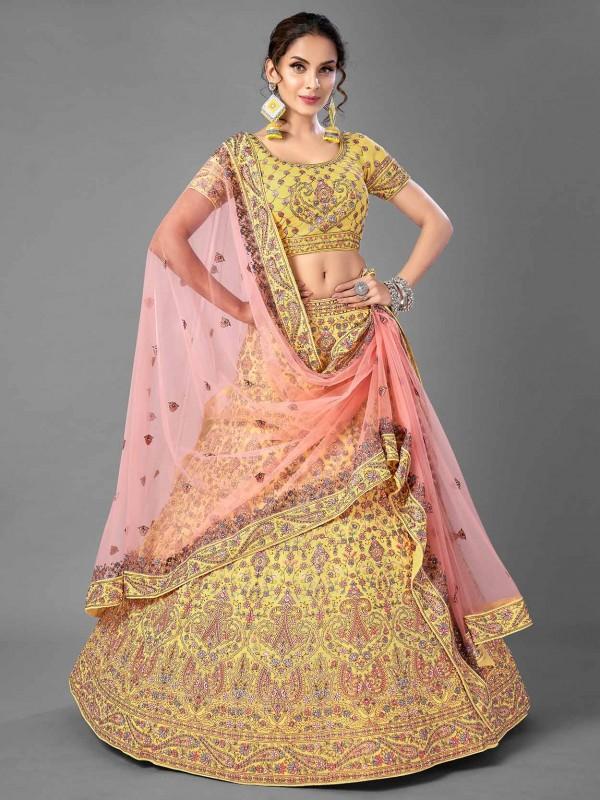 Designer Lehenga Choli Yellow Colour In Georgette Fabric.