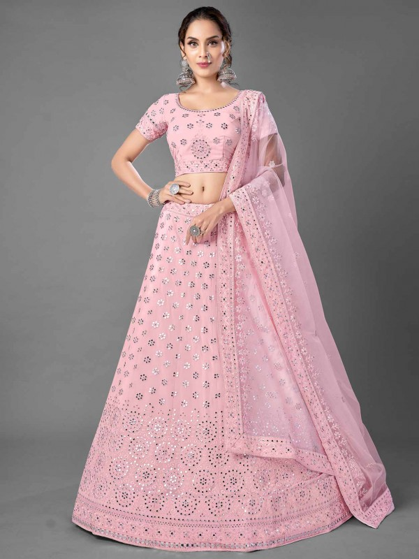 Pink Colour Indian Designer Lehenga in Georgette Fabric.