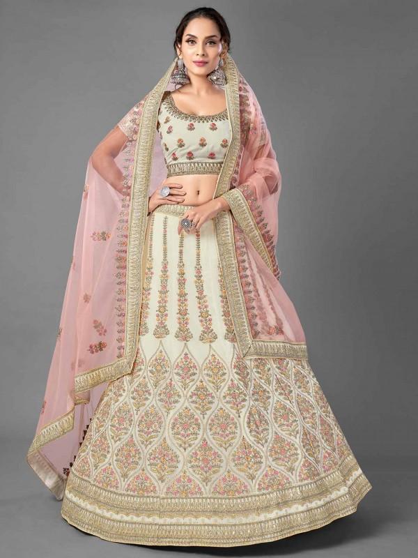 Beautiful Designer Lehenga White Colour in Georgette Fabric.