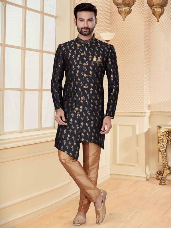 Black Colour Jacquard Fabric Indowestern With Zari Work.