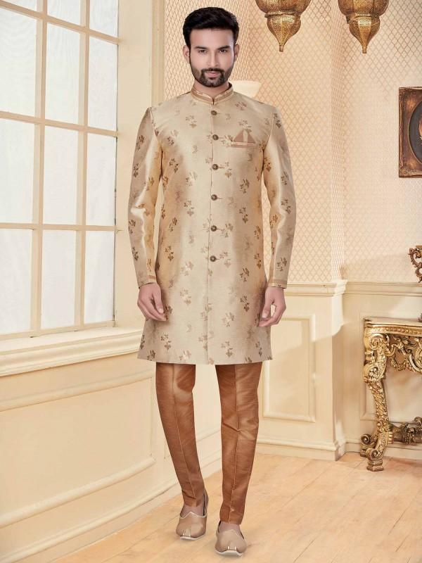 Beige Colour Men's Indowestern In Jacquard Fabric.