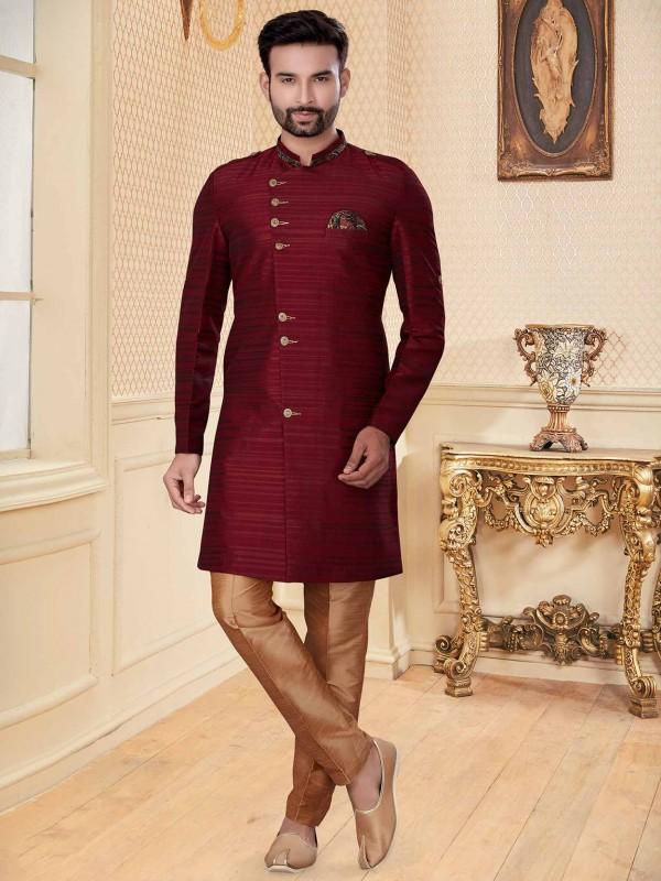 Maroon Colour Silk Designer Indowestern.