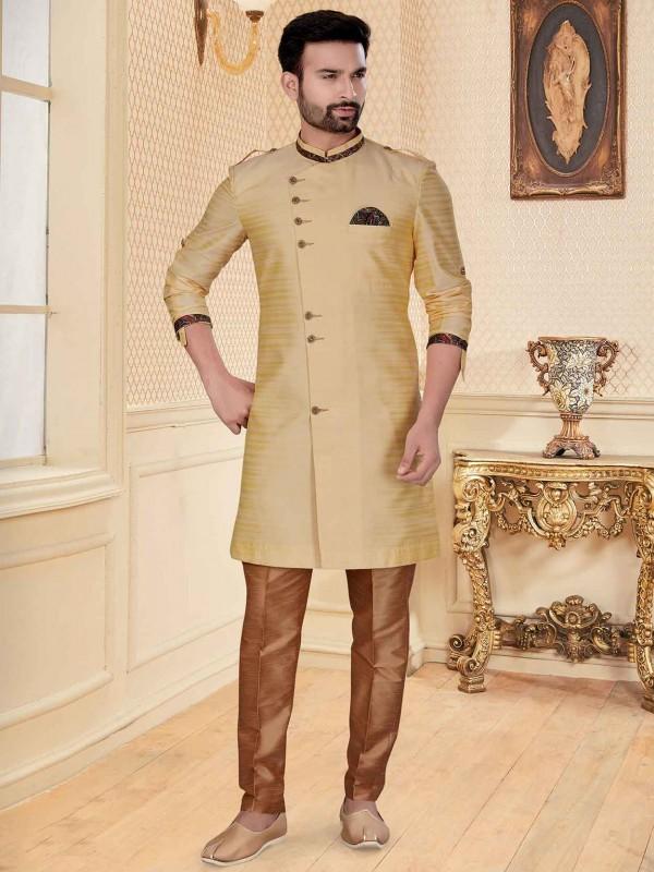 Silk Fabric Stylish Designer Indowestern Beige,Golden Colour.