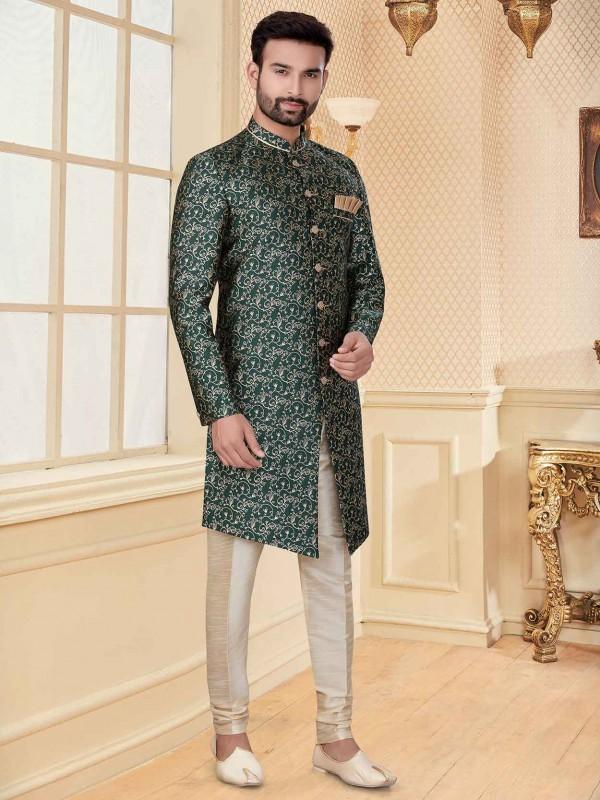 Green Colour Jacquard Fabric Men's Indowestern.