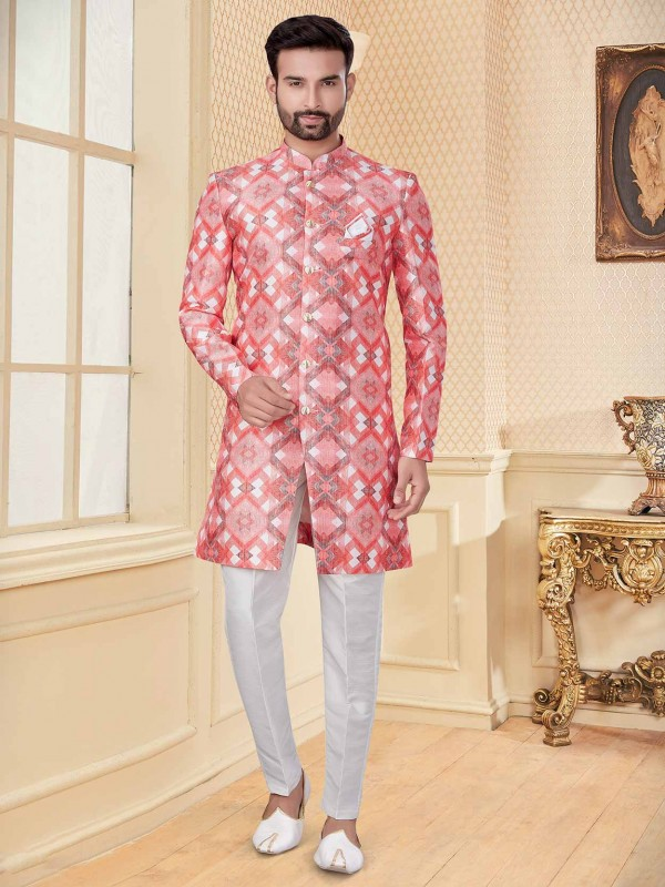 Jacquard Fabric Pink Colour men's Indowestern With Digital Print Work.