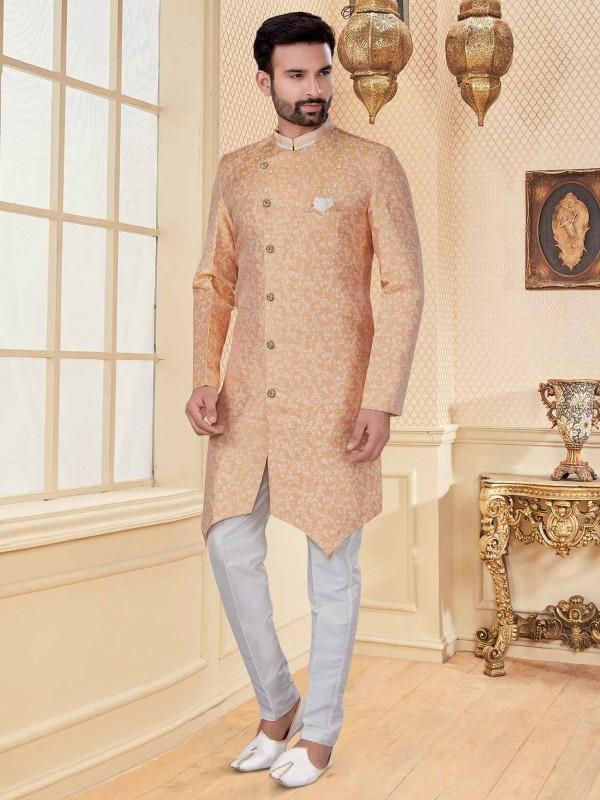 Peach Colour Jacquard Fabric Men's Indowestern.