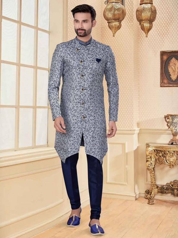 Grey,Blue Colour Jacquard Fabric Men's Designer Indowestern.