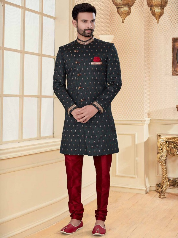 Jacquard Fabric Black Colour Party Wear Indowestern.