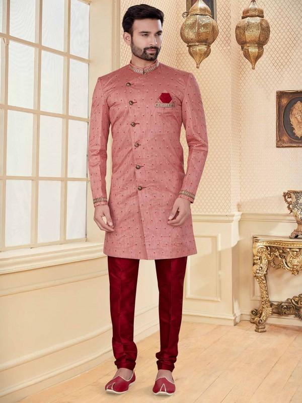Pink,Peach Colour Jacquard Fabric Designer Indowestern.