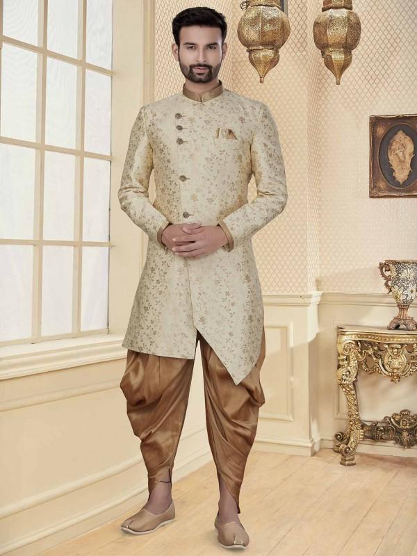Cream Colour Jacquard Fabric Men's Indowestern With Zari Work.