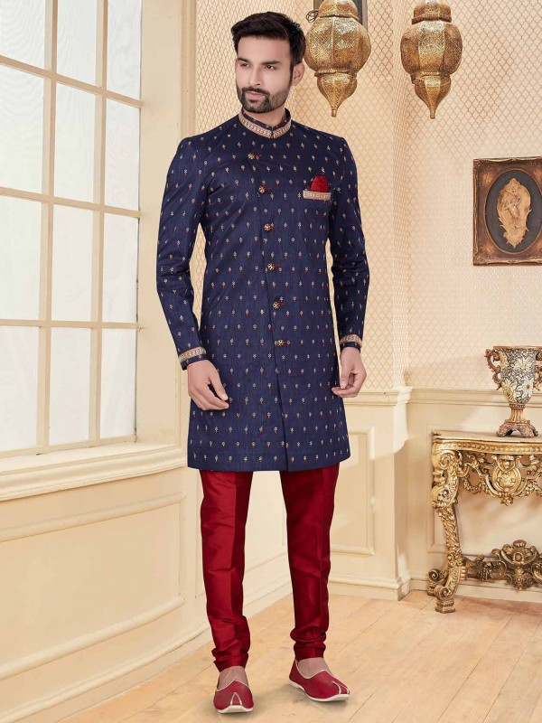 Navy Blue Colour Party Wear Indowestern.