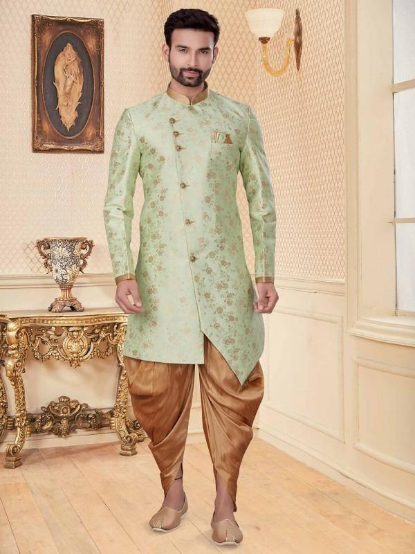 C Green Colour Jacquard Fabric Men's Indowestern.