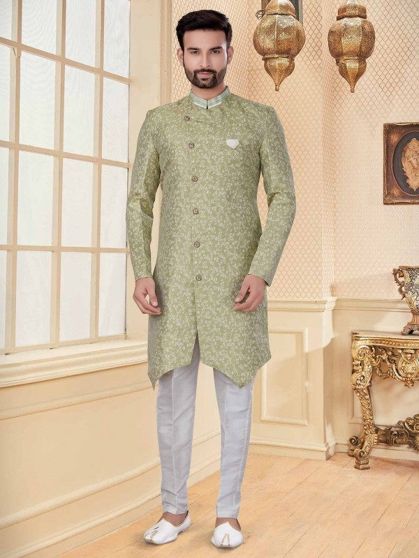 Light Green Colour Jacquard Fabric Men's Indowestern With Embroidery Work.