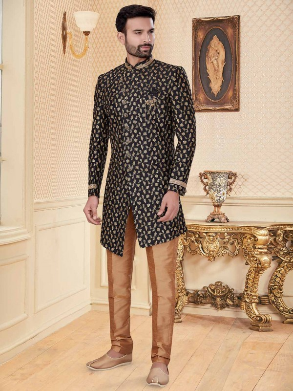 Black Colour Party Wear Indowestern With Embroidery,Zari Work.