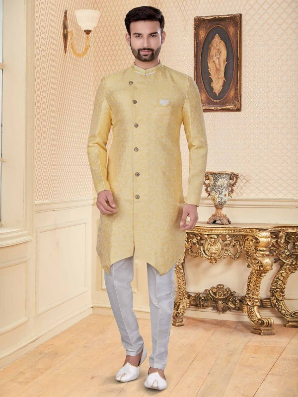Golden Colour Designer Indowestern With Embroidery Work.