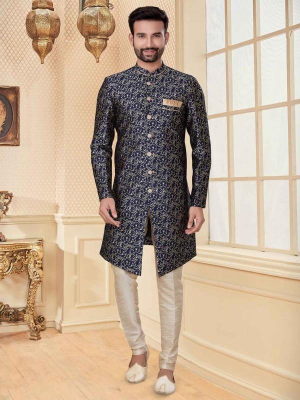 Navy Blue Colour Jacquard Fabric Men's Indowestern.