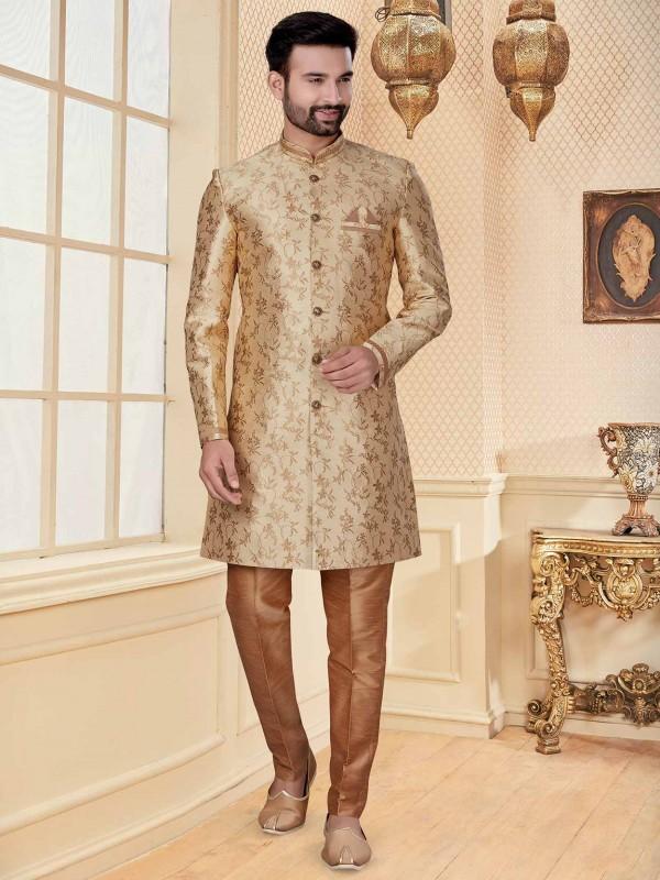 Golden Colour Jacquard Fabric Wedding Indowestern.