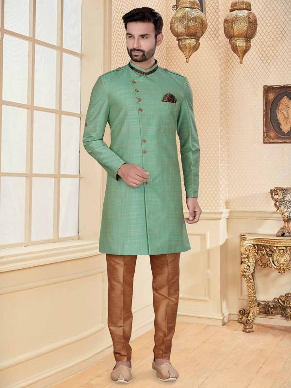Rama Green Colour Silk Fabric Men's Indowestern.