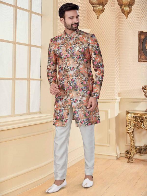 Multi Colour Jacquard Fabric Men's Indowestern.