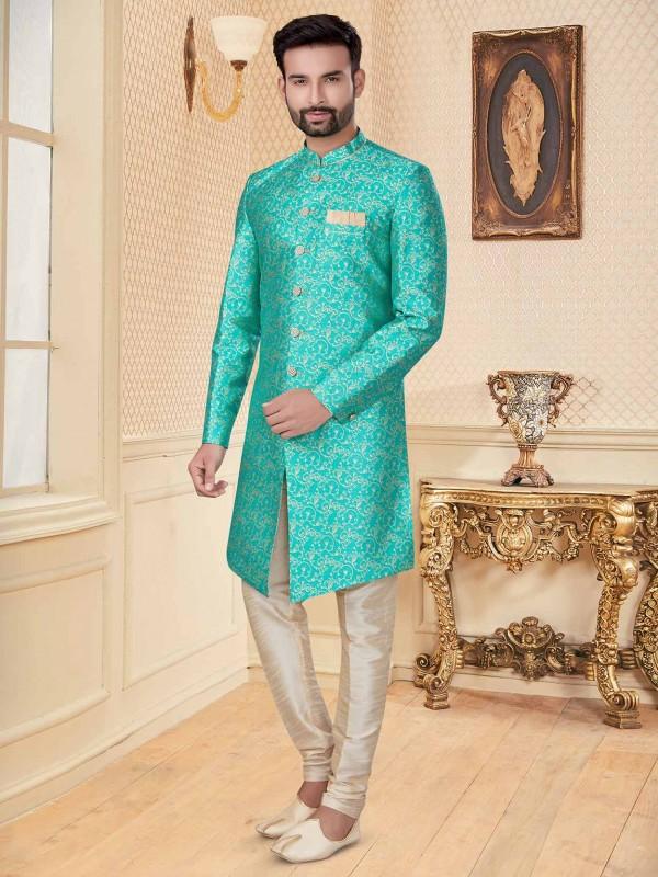 Turquoise Colour Jacquard Fabric Designer Indowestern.