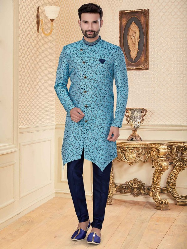 Sky Blue Colour Jacquard Fabric Indowestern With Embroidery Work.