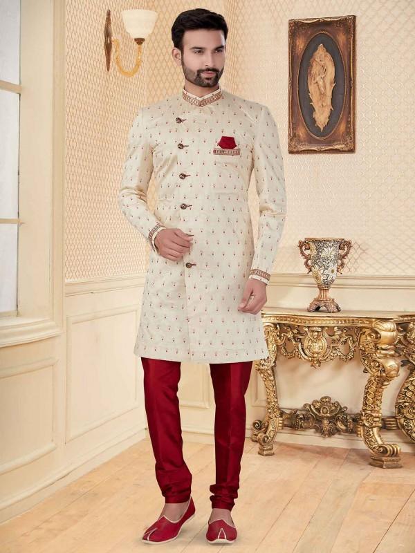 Cream Colour Jacquard Fabric Designer Indowestern.