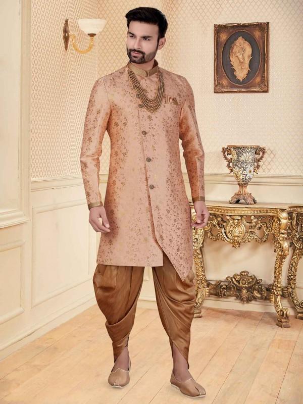 Peach Colour Jacquard Fabric Indowestern.