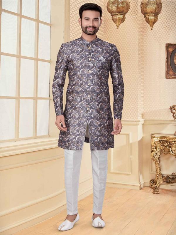 Grey Colour Digital Print Men's Indowestern.