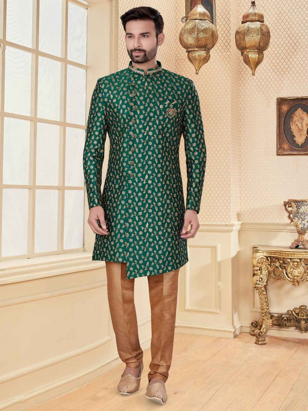 Stylish Designer Indowestern Green Colour.