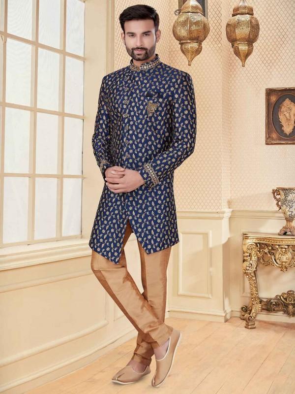 Navy Blue Colour Designer Men's Indowestern With Zari,Embroidery Work.