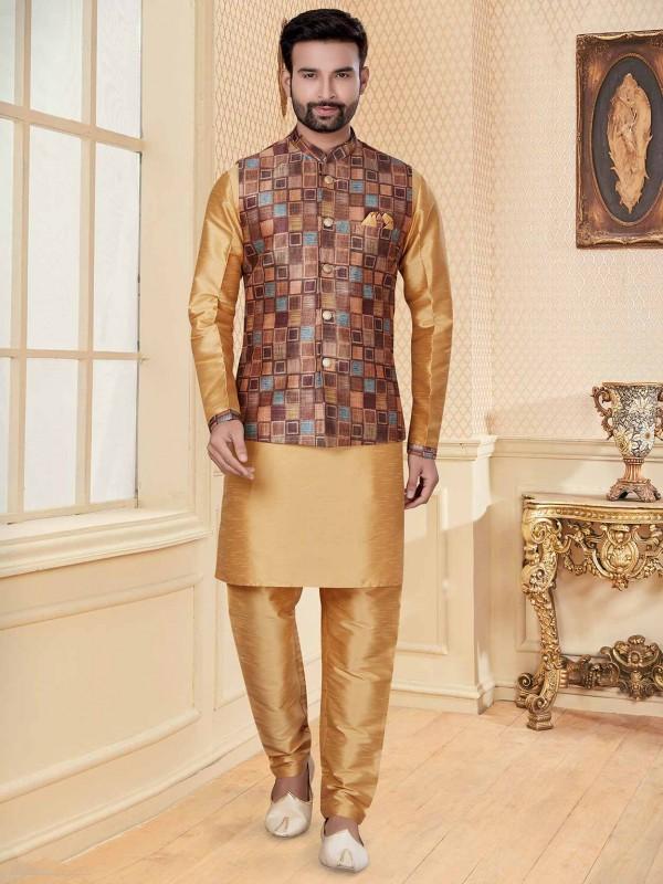 Beige,Multi Colour Silk,Jacquard Fabric Kurta Pajama Jacket.