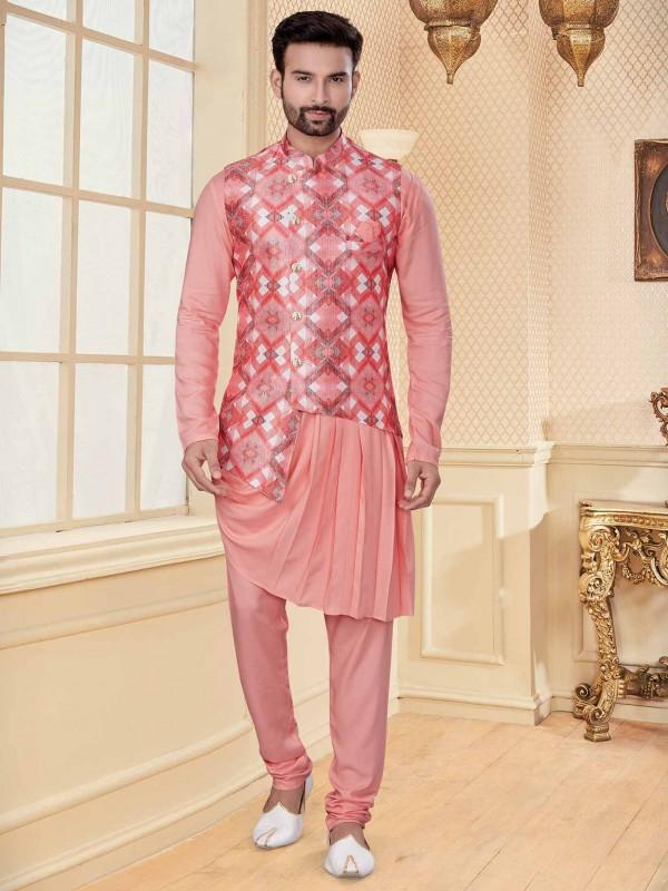 Stylish designer Kurta Pajama Pink,Peach Colour.
