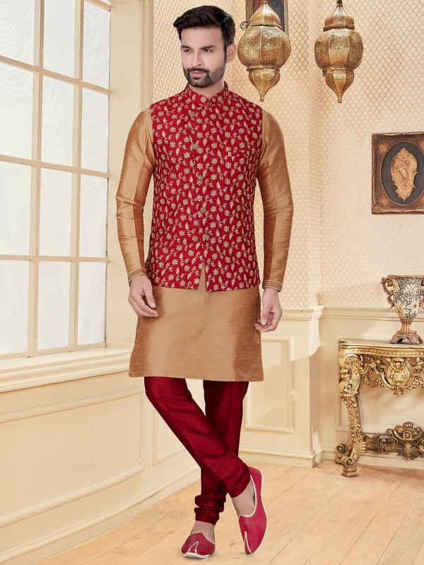 Beige,Maroon Colour Silk,Jacquard Fabric Indian Wedding Kurta Pajama.